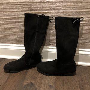 Girls Stuart Weitzman Black Suede Riding Boots